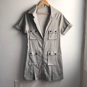 Geren Ford grey chambray cotton cargo trench dress